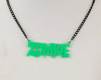 Zombie Gore Neon Green Necklace (laser cut acrylic)