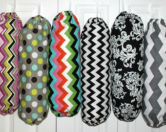 Fabric Plastic Grocery Bag Holder Dispenser Kitchen Organizer YOU PICK Your FABRIC Pattern Best Selling Item