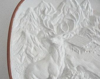 Majestic Stag Winter Woodland Scene Wall Plaque Decor White and Bronze