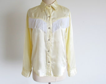 Vintage Cowgirl Fringed Shirt, Yellow Western Shirt, Pearl Snap Shirt, Dallas Shirt, Made in the U.S.A., Yellow Rose of Texas