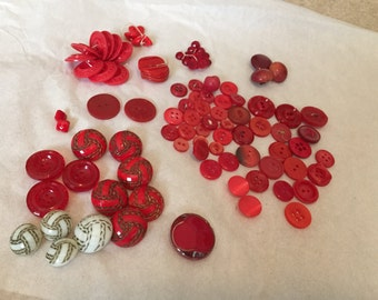 Vintage Faceted Red Glass & Plastic Buttons Lot / 89 PC