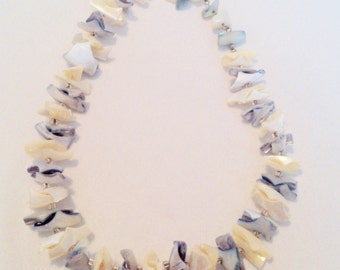 Vintage Blue and White Mother of Pearl Shell Necklace