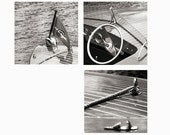 Chris Craft Photo, Antique Boat Photo Set, Chris Craft Print, nautical decor, classic boat print, vintage, steering wheel, flag, wall art