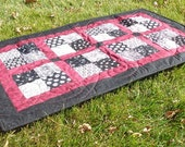 Patchwork Modern Quilted Table Runner, Black White Table Runner, Modern Table Topper