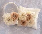 Flower Girl Basket Set, Ring Bearer Pillow,Fall Autumn Flower Girl Basket Wedding Pillow Elegant and Classic