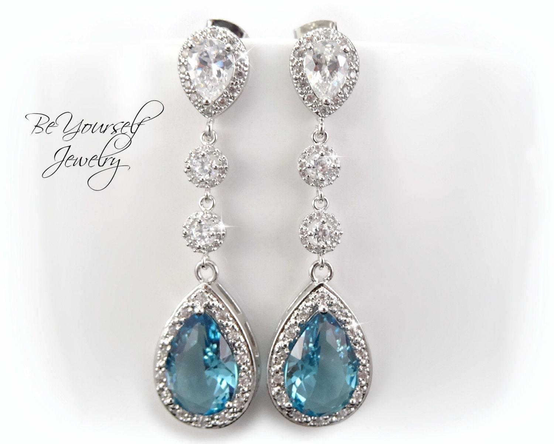 Aquamarine Teardrop Bridal Earrings Pale Blue Bride Earring White Crystal Wedding Jewelry Cubic Zirconia Wedding Earring Aqua Something Blue