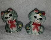 Vintage Kitsch Gray Kitten Salt and Pepper Shakers