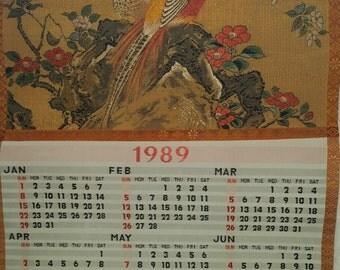 Vintage Silk Japanese 1989 Calendar from Yamaha