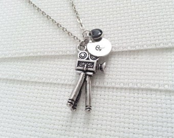 Initial Necklace. Silver Film Camera  Necklace.  Personalized Gift. Hand Stamped. Monogram Necklace. Film Maker Jewelry. Movie Lover