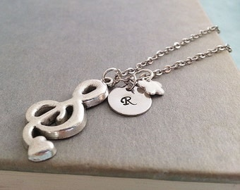 Initial Necklace.Treble Clef Necklace. Music Necklace. Antique Silver Treble Clef Pendant. Music Musician Jewelry