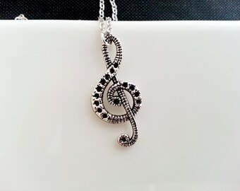 Treble Clef Necklace. Music Necklace. Antique Silver Treble Clef Pendant. Music Musician Jewelry. Long Necklace. Gift Under 20