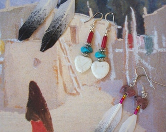 Native American Earring Eagle Feather Heart Bear Fetish Turquoise Stone Coral Rhodochrosite Crystal Star - Choice Southwest Fashion