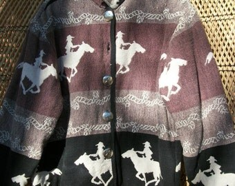 HORSE JACKET SOUTHWESTERN Outerwear Lg Short Cotton Comfortable  Fall Winter Fashion Black Brown White Heavy Warm Button Missing Reversible