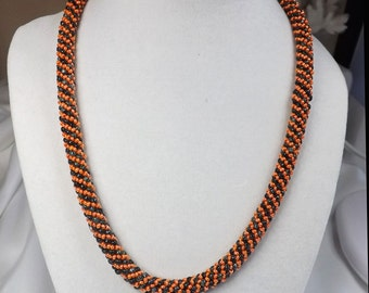 Handcrafted Orange and black Necklace - Russian Spiral Necklace - Autumn Necklace - Beaded Necklace