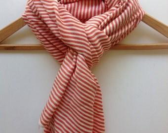Scarf-  Orange Cotton Stripe Scarf- Accessories- Men Women Ticking Stripe Orange & White Hand-woven Ethiopian Scarves-