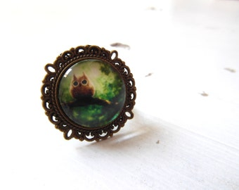 Big green Owl ring , Cocktail Ring ,  Adjustable Ring, woodland jewelry