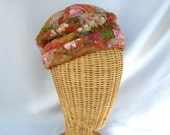 Vintage Ladies Hat Floral Toque Pink Green Tulle Silk Flowers Amy New York