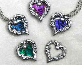 Paua Shell Heart Heart Necklace, silver brass