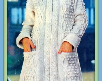 PDF Knitting Pattern For Ladies Long Length Hooded Aran Coat - Instant Download