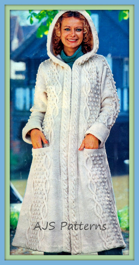 Knitting Pattern Ladies Long Coat : PDF Knitting Pattern For Ladies Long Length Hooded Aran Coat