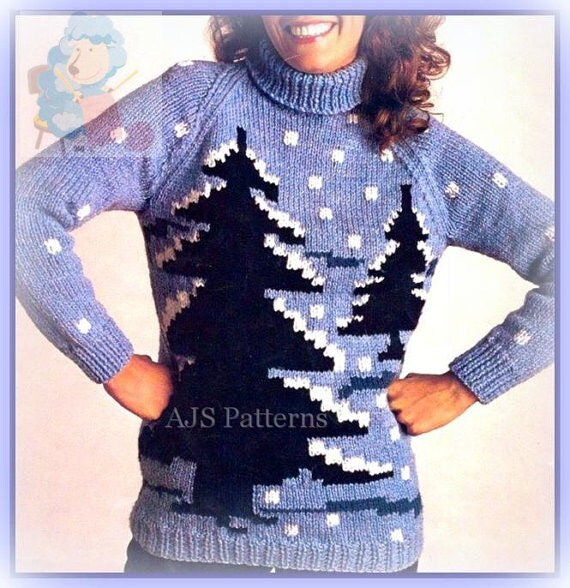 PDF Knitting Pattern for a Chunky Knit Winter Scene Fir Tree