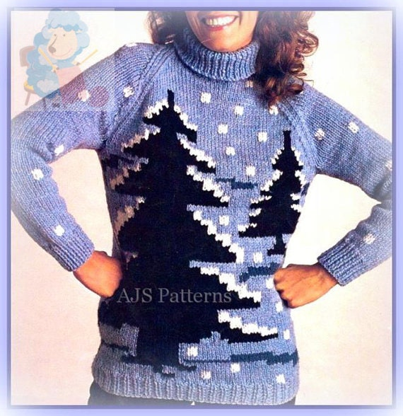 Knitting Sweater Design Book Pdf : Pdf knitting pattern for a chunky knit winter scene fir tree