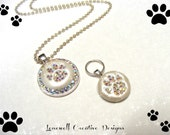 Jewels Swarovski Paw Print Crystal Rhinestone Necklace & Dog Tag Pendant....Lots Of Color Choices!