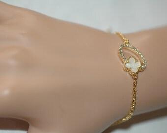 Clover Bracelet, Four Leaf White enamel Clover Charm, Black Or Off White clover bracelets, Crystallized bracelet, Gift for her, Holiday Gift