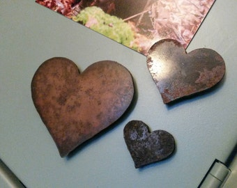 3 Rustic Metal Heart Magnets