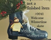 EPATTERN 0041 Welcome Wintertime skate, digital download, paint your own, ice skate, skating snowman, ice skate pattern,CIJ