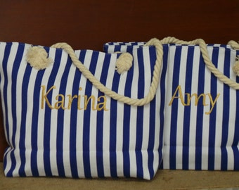 Bridesmaids Gifts, Nautical Personalized Tote, Bride Gift Basket,  7 TOTES