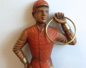 Vintage, Burwood Jockey Wall Plaque.  Lawn Jockey Hitching Post Replica and Ring.  Wall Art.  1960's.