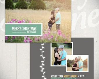 Christmas Card Template: Merry & Bright C - 5x7 Holiday Card Template for Photographers