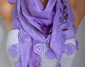 Lilac Cotton Scarf,Summer Scarf, Necklace, Cowl Scarf Gift Ideas for Her Women Fashion Accessories christmas in july