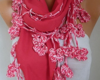 Red Pashmina Floral Scarf  Oversize Scarf Shawl Cowl Scarf Bridesmaid Gift Gift Ideas For Her Women Fashion Accessories