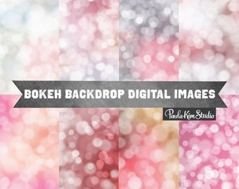 Valentines Day Digital Paper Bokeh Backdrop Digital Scrapbook Paper Download Pink Digi Papers