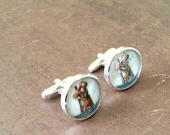 St Christopher Cuff Links - Men's Cuff Links - Vintage West German Glass - Religious Cuff Links