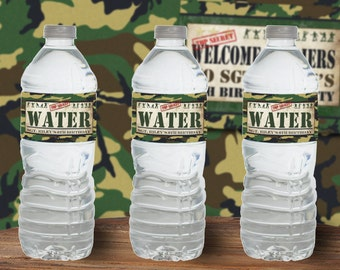 Army Men Water Bottle Labels - INSTANT DOWNLOAD - Editable & Printable Birthday Party Decorations by Sassaby