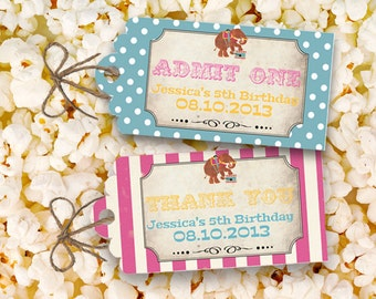 Vintage Circus Party Favor Tags Candy Combo - INSTANT DOWNLOAD - Printable Birthday Decorations by Sassaby