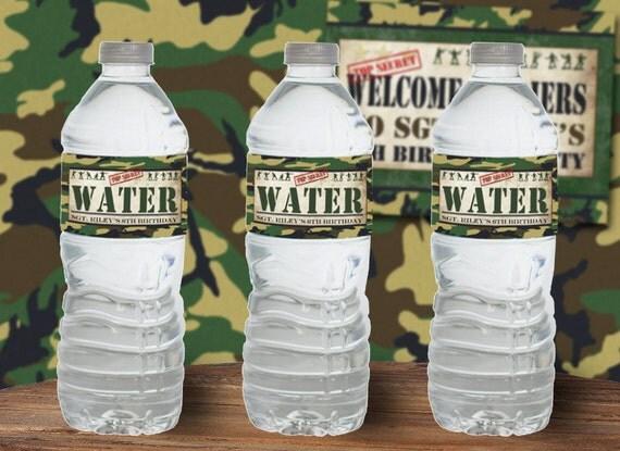 Army Men Water Bottle Labels Instant Download Editable