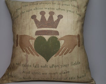Irish Blessing Canvas burlap pillow,  St. Patricks Day, INSERT INCLUDED
