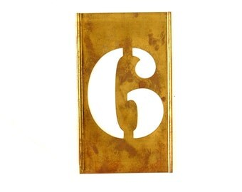 "Vintage Brass Stencil Number ""6"" Reese's Interlocking Stencils, 4-1/2"" tall (c.1950s) - Monogram Display, Shadow Box Letter, Art Supply"