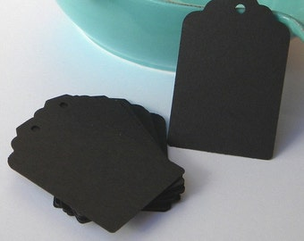 250 black tags - black paper tags - gift tags - wedding favor tags - merchandise tags - jar tags - hang tags - craft supplies