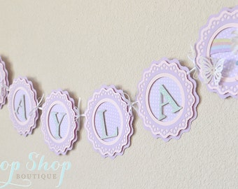 Butterfly Wishes Birthday Banner, Special Occasion, name banner, nursery decor, photo prop, High chair banner