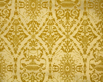 Vintage Flock Wallpaper by the Yard 70s Retro Flock Wallpaper - 1970s Gold on Gold Damask Flock