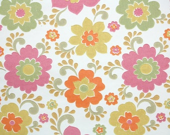 Retro Wallpaper by the Yard 60s Vintage Wallpaper - 1960s Orange Pink and Green Mod Floral on White
