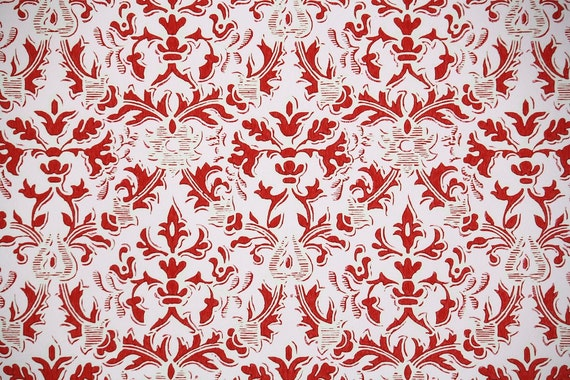Retro Wallpaper by the Yard 60s Vintage Wallpaper - 1960s Red and Pink Damask