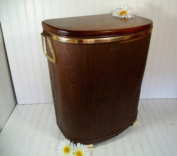 Vintage Oversized Dark Brown Wicker Wood Clothes Hamper