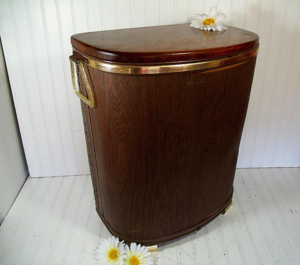 Vintage Oversized Dark Brown Wicker Amp Wood Clothes Hamper