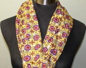 Light Knit, Bright Yellow and Purple Floral Infinity Scarf